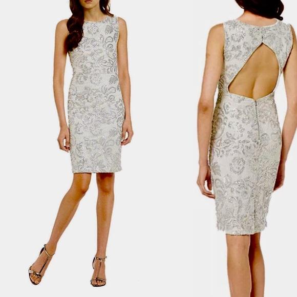 Calvin Klein Silver Sequin Lace Sheath Dress Nwt
